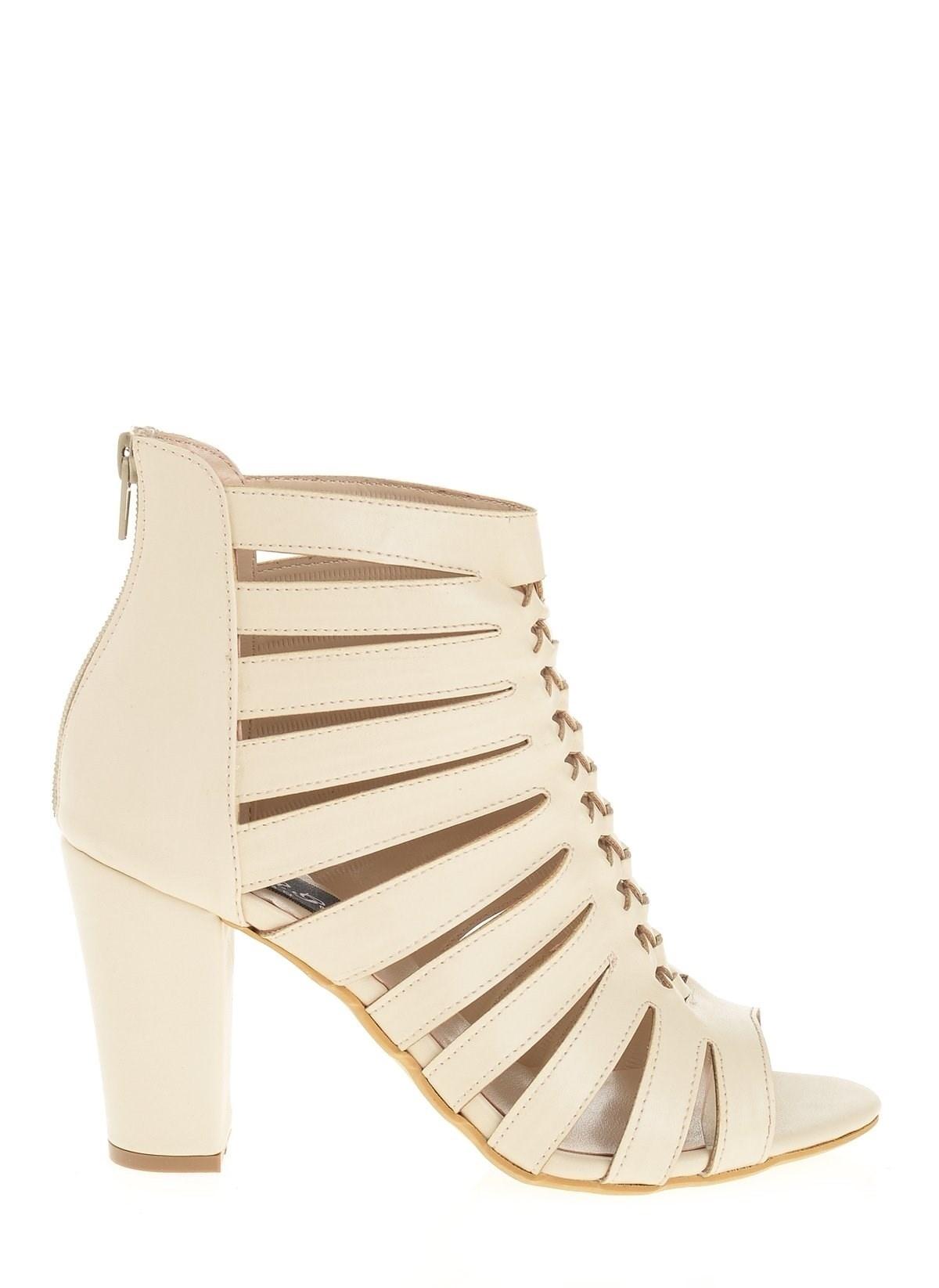 Derigo 20306 Krem Kadın Topuklu Ayakkabı